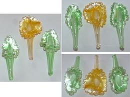 Vintage Lot 3 Fleurs En Verre Soufflé Blown Glass Flower ART DECO DE TABLE - Glass & Crystal