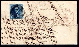 """N° 4 Bien Margé Sur Lettre Avec Contenu, Oblitération """"P 18 BINCHE"""" Du 17 Janvier 1851 à Destination De BRUXELLES - 1849 Epaulettes"""