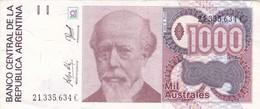 1000 AUSTRALES JULIO ROCA REPUBLICA ARGENTINA SERIE C CIRCA 1987- BLEUP. - Argentina