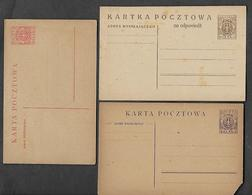 1920 THREE   STATIONARY CARDS - Poland