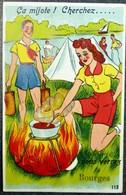 """Carte Humour à Système 18 Cher """"Ca Mijote Vous Verrez BOURGES"""" Scoots Camping Feu De Camp - Gruss Aus.../ Gruesse Aus..."""