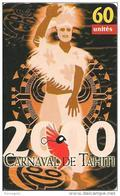 CARTE°-PUCE-POLYNESIE-60U-PF105-GEMA-10/2000-CARNAVAL DE TAHITI-RYTHME-UTILISE-TBE- - Polynésie Française