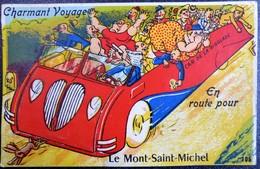 """Carte Humour à Système 50 Manche """"En Route Pour Le Mont Saint Michel Charmant Voyage"""" - Gruss Aus.../ Gruesse Aus..."""