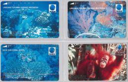 LOT 4 PHONE CARD- INDONESIA (E39.52.5 - Indonesia