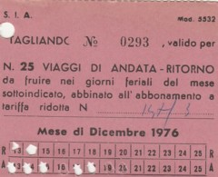 BIGLIETTO BUS SIA BRESCIA 1976 25 VIAGGI-ABBONAMENTO (VB526 - Abbonamenti
