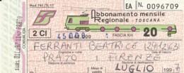 BIGLIETTO TRENO  ABBONAMENTO MENSILE TOSCANA (VB533 - Abonnements Hebdomadaires & Mensuels