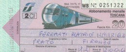 BIGLIETTO TRENO  ABBONAMENTO MENSILE TOSCANA (VB535 - Abonnements Hebdomadaires & Mensuels