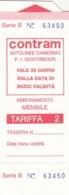 BIGLIETTO BUS ABBONAMENTO CONTRAM (VB563 - Abonnements Hebdomadaires & Mensuels