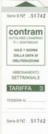 BIGLIETTO BUS ABBONAMENTO CONTRAM (VB564 - Abbonamenti