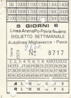 BIGLIETTO BUS ABBONAMENTO SETTIMANALE PAVIA (VB566 - Abonnements Hebdomadaires & Mensuels