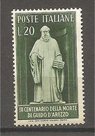 Italia - Serie Completa Nuova: 9° Centenario Della Morte Di Guido D'Arezzo - 1950 * G - 6. 1946-.. Republic