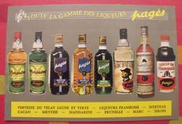 Publicité Carte Toute La Gamme Des Liqueurs Pagès. Verveine Du Velay, Framboise Prunelle.... Vers 1970 - Advertising