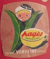 Publicité Autocollant Pagès Infusions. Tilleul Verveine Menthe. Vers 1970 - Publicités