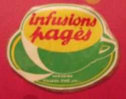 Publicité Autocollant Infusions Pagès. Verveine Tilleul Menthe. Vers 1970 - Publicités