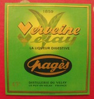Publicité Grande étiquette Verveine Du Velay, La Liqueur Digestive Pagès Distillerie Du Velay, 43°. Vers 1960 - Publicités