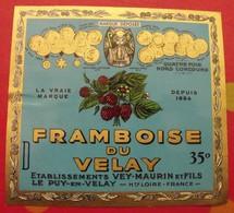 Publicité  étiquette  Framboise Du Velay, La Liqueur Digestive Vey-Maurin, Le Puy-en-Velay, 35°. Vers 1960 - Publicités
