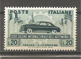 Italia - Serie Completa Nuova: 33° Salone Dell'auto Di Torino - 1951 * G - 6. 1946-.. Republic