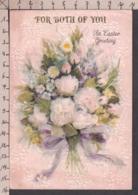 96516GF/ PAQUES, Easter, Fleurs, Gaufrées, Paillettes, Minilettre (4 Plis) - Pasqua