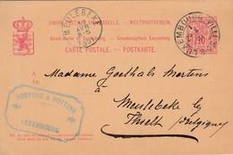 Entier Postal Grand-Duché Du Luxembourg De 1891 , De Luxembourg Vers Meulebeke Lez Thielt,cachet Firme Soupert & Notting - Cartes Postales