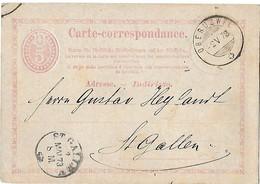 162 - 9 -  Entier Postal Avec Superbes Cachets à Date De Oberuzwil Et St Gallen 1873 - Ganzsachen