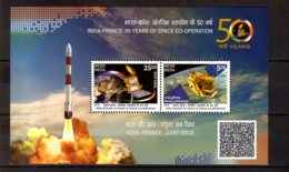 2015 India - Space Exploration - Joint Issue With France MS - MNH** MI B 128 - Nuevos