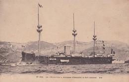 LE RICHELIEU. CUIRASSE D'ESCADRE A FORT CENTRALE. BG. VOYAGEE CIRCA 1900s. CORRESPONDANCE FAMILLE LOUSLTALAN- BLEUP. - Voiliers