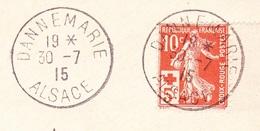 Cachet Dannemarie Alsace Sur Lettre Avec Semeuse Croix Rouge - Marcofilia (sobres)