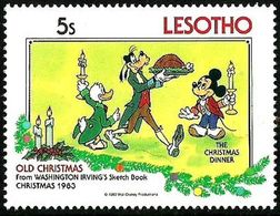 Lesotho 1983 Scott 416 Sello ** Walt Disney Libro Dibujos Washington Irving Cena De Nöel Navidad Christmas 5s Lesoto - Disney