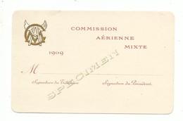 Carte De Visite Ancienne Commission Aérienne Mixte 1909 Spécimen Avec Cigle Doré à L'or Fin ( Stern Imprimeur Paris ) - Cartes De Visite