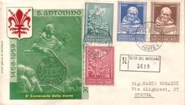 1960 VATICANO FDC SANT'ANTONINO RACCOMANDATA. - FDC