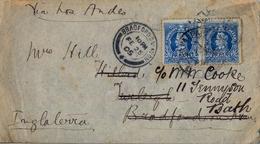 1905 , CHILE , SOBRE CIRCULADO ENTRE VALPARAISO Y BRADFORD ON AVON , REDIRIGIDO A BATH , LLEGADA , CIRC. VIA LOS ANDES - Chile