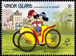 Union Island (St.Vincent) 1989 Scott 241 Sello ** Walt Disney Coches Antiguos Mickey Y Minnie En Peugeot 1893 1c Union - Disney