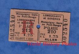 Ticket Ancien De Train - Trajet 3e Classe - MACQUIGNY / LONGCHAMPS Et BOHERIES - Chemin De Fer De L' Aisne Bahn Gare Est - Chemins De Fer