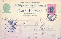 1899 , BRASIL , ENTERO POSTAL CIRCULADO , RIO DE JANEIRO - AACHEN , LLEGADA - Enteros Postales