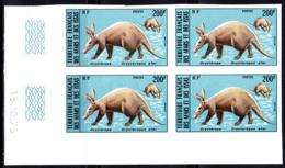 AFARS & ISSAS (1975) Aardvark (Orycteropus Afer). Imperforate Corner Block Of 4. Scott No 407, Yvert No 409. - Afars Et Issas (1967-1977)