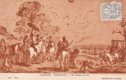CHARLES PARROCEL. LA CHASSE AU VOL. LL. CIRCA 1900s TIMBRE TYPE BLANC 1c GRIS YVERT N°107- BLEUP. - Peintures & Tableaux