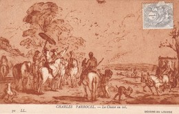 CHARLES PARROCEL. LA CHASSE AU VOL. LL. CIRCA 1900s TIMBRE TYPE BLANC 1c GRIS YVERT N°107- BLEUP. - Schilderijen