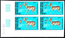 AFARS & ISSAS (1976) Beira (Dorcatragus Megalotis). Imperforate Corner Block Of 4. Scott No 403, Yvert No 418. - Afars Et Issas (1967-1977)
