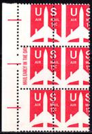 U.S.A. (1973) Airplane. Scott No C78. Yvert No PA74. Nice Perforation Error In Margin Block Of 6 - Varietà, Errori & Curiosità