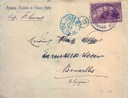 """1893 , VENEZUELA , CARACAS - BRUSELAS , CIRCULADO VIA VAPOR """" ST. LAURENT """", MARCA DE CORREO MARÍTIMO , LLEGADA - Venezuela"""
