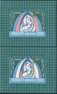 URUGUAY (1974) Madonna & Child. S/S With Color Pink Shifted Far To The Right. Scott No C401, Yvert No BF26. - Uruguay
