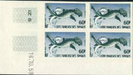 SOMALI COAST (1959) Hammerhead Shark. Imperforate Corner Dated Block Of 4. Scott No 282, Yvert No 302. - Côte Française Des Somalis (1894-1967)