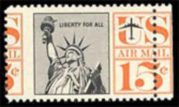 U.S.A. (1959) Statue Of Liberty. Scott No C58. Yvert No PA58. Nice Perforation Shift Through The Face Value. - Abarten & Kuriositäten