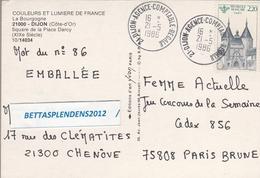 1986 - Cachet DIJON AGENCE COMPTABLE REGIONALE Sur YT 2419 Et Sur CP DIJON - Square De La Place DARCY - Marcofilia (sobres)