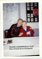 """77 COULOMMIERS - Paulette LAUXERROIS Et FLIP,  """"Deux Grand De La Cartophilie"""" - Photo A. LECOINTRE - Coulommiers"""