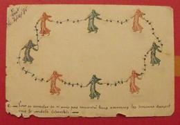 Carte Postale Esperanto Postkarto. Timbres Semeuses Découpés Et Collées (carte Artisanale Unique). Vers 1930 - Esperanto