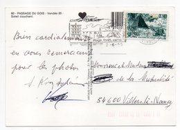 """1995--timbre """"Malterie De Stenay (Meuse)"""" Seul Sur Carte Postale Passage Du GOIS-85--Soleil Couchant - Marcofilie (Brieven)"""