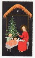 1966--Petite Carte Double Figurant Nativité Avec Ange Et Sapin De Noel--carte Italienne écrite Depuis La Grèce - Natale