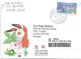 MACAU MACAO Registered Cover To Lisbon - Storia Postale