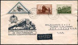 Hungary 1952 RAILWAY Train Steam Locomotive Eisenbahn Zug Chemin De Fer Triangle Stamp Bird Ungarn Hongrie Air Cover>USA - Trenes